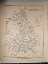 Original Antiquarian UK Map of Cambridgeshire/Cambridge c1850 - Dugdale, England