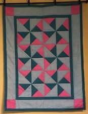 Pinwheels Pink Turquoise Baby Quilt Lap Throw Handmade Cotton Easy Care Boy Girl