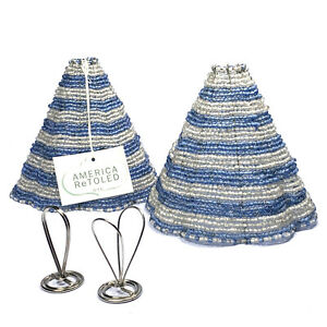 """2x America ReToled Beaded Glass & Metal Small Lamp Shade Blue & White H: 6.5"""""""