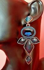 Auth New Signed OSCAR DE LA RENTA Blue Cabochon Crystal Dangle EARRINGS Long blu