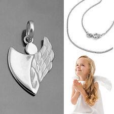 moderner Kinder Schutz Engel Anhänger in Herz Form mit Kette Echt Silber 925 Neu