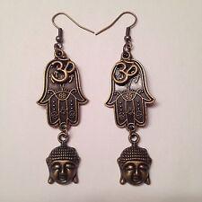 Bronze Hamsa Hand Ohm Buddha Charm Earrings