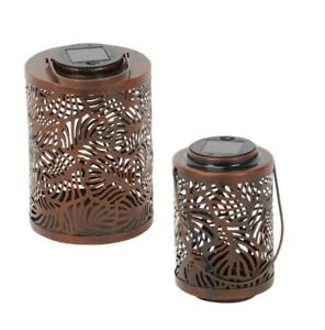Solar Power Lantern LED Moroccan Cut Out Leaf Outdoor Garden Hanging Lamp Light