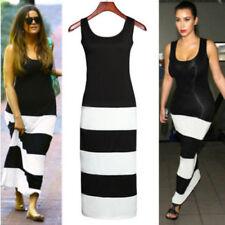 Women Sleeveless Scoop Neck Striped Summer Casual Lady Party Beach Maxi Dress UK