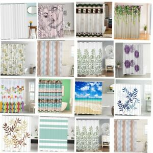 Waterproof Fabric Shower Curtain Scenery Bathroom Curtains Panel Sheer &12 Hook