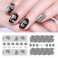 LEMOOC Nail Water Decals Black Lace Pattern DIY Transfer Stickers  Tool