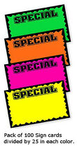 Multicolor Single Sided Special Large Sign Card 7 H x 11 W Inches - 100 Pc