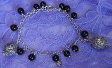 "Vintage 3/4"" Dangling sterling balls w Onyx Sterling Silver .925 7 1/2"" Bracelet"