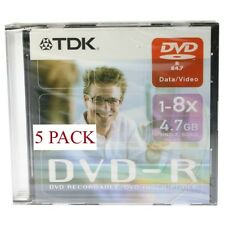 TDK DVD-R  1-8X  4.7GB SLIM PACK  5 PZAS