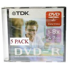 Tdk DVD-R 1-8x 4.7gb Slim pack 5 Pzas