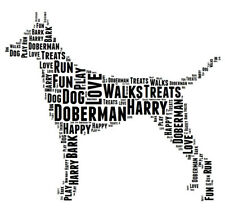 Personalised Dog Doberman With Tail Word Art Print Great Gift Mum Dad Friend