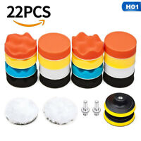 "22pcs 3"" Buffing Waxing Polishing Sponge Pads Kit Set For Car Polisher Drill UK"