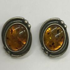 Vintage Solid Silver Amber Clip-On Earrings 2cm X 1.5cm