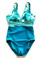 Islander Swimsuit One Piece Stretch Blue Teal Floral Top Banded Waist Size 12