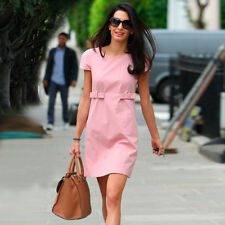 OL Short Sleeve Belt Korean Fashion A-line Sweet Summer Loose Mini Dress Pink*