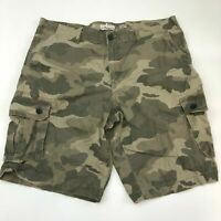 Urban Pipeline Cargo Shorts Mens 40 Green Tan Flat Front 100% Cotton Camouflage