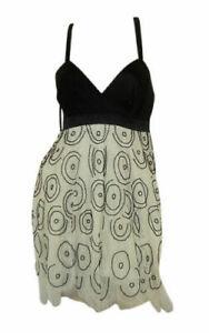 Lipsy strappy heavily beaded cream silk & net dress VIP range size 8