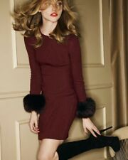 Alice + Olivia Sutton Knit Fur Cuff Sweater Dress Wool Red Size L NWOT