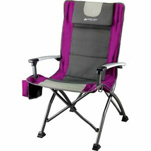 Ozark Trail Folding Higher Back Chair with Head Rest up to 300 lbs, Fuchsia NEW