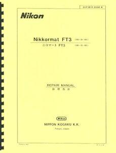Nikon Nikkormat FT3 Camera Repair Manual Reprint: English & Japanese