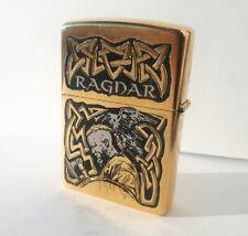 Zippo. Ragnar the Viking. Handmade gold-plated gift lighter. Norse mythology.