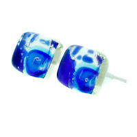 Murano Glass Earrings Millefiori Blue Silver Handmade Venice Stud Square