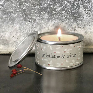 Christmas Mistletoe & Wine Candle in a Tin by East of India