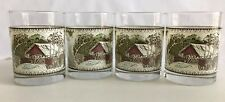 Set Of 4 Friendly Village Covered Bridge 12 oz.Drink Glasses johnson Brothers