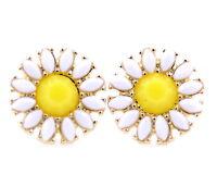White daisy / sunflower flower stud earrings, 50, 60's retro