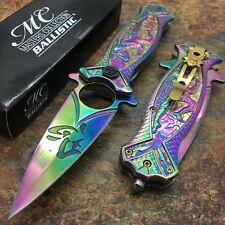 Masters Collection Mc-A030Rb Spring Assist Folding Knife, Rainbow Blade, Rainbow