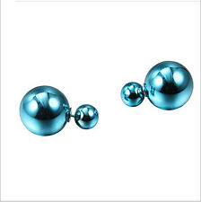 Chfr41-F4 a pair fine 16mm big 8mm small lake blue shell beads studs earring