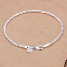 Fashion Women 925 Sterling Silver Plated Bangle Jewelry Snake Chain Bracelets