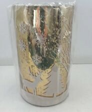 "Winter Scene Small Candle Holder Luminaria  8"" New In Packaging Gold And White"