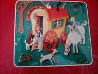 Vintage Biscuit Tin Crossstich Design,very old,wagon scene on front Collectable