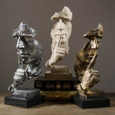 Abstract Silence Golden Figurine Resin Hand Face Silent Men Statue Sculpture 1pc