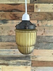 ART DECO FROSTED AMBER GLASS & GALLERY RIBBED TEXTURED CEILING LIGHT LAMP SHADE