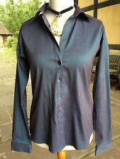 Long Tall Sally Smart Shirt Blouse 14/16 Blue With Stretch  - Long Sleeves