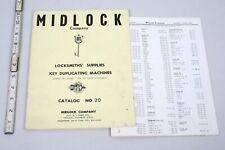 Vintage 1972 Midlock Lock Co. Locksmith's Supply  Catalog No. 20