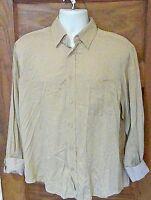 EUC Bugatchi Uomo Flip Cuff Shirt 100% Tencel Brown / Tan Medium M Free Shipping