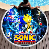 Sonic the Hedgehog Cool Round Towel Tapestry Yoga Beach Mat Blanket