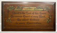 "BEAUTIFUL VTG "" Christ Is The Head of This House "" 1930s? Carved, Painted Plaque"