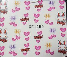 Accessoire ongles: nail art - Stickers autocollants -Motifs Lapins Coeurs Noeuds