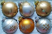 6 x Hand Painted Vintage Style Christmas Tree Glass Baubles - Silver & Gold