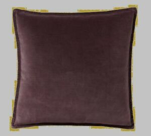 "NEW POTTERY BARN Washed Velvet Pillow Cover Sham Purple Brown Beige 20"" Square"
