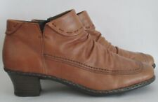 Rieker size 7 (40) tan soft leather ankle boots with heels and zips