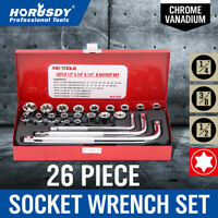 26Pc E-Torx Star Socket Set CRV 1/4 3/8 1/2in Drive Female Type L-Handle Wrench