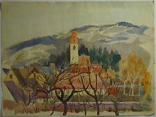 Heinz Wagner, Dorf mit Kirche, Wachau?, Aquarell, 1963, Nachlasstempel