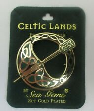 22K GP Pseudo-Penannular PIN BROOCH Celtic Lands Sea Gems Enameled Green EUC