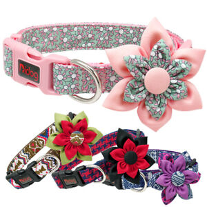 Cute Flower Girl Dog Pet Collars Necklace Pink Purple Red Pug Small Medium Large