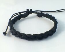Black Leather Bracelet Anklet Wristband Waxed Cotton / Mens Womens Kids Beach